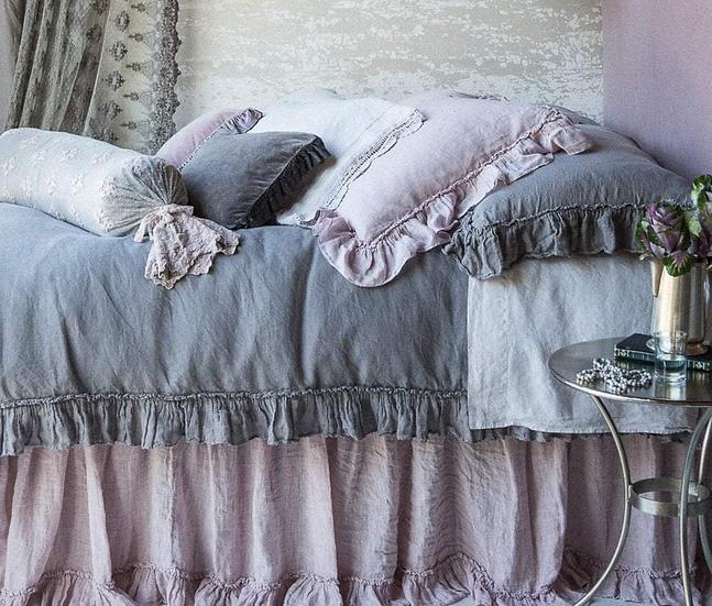 Bella Notte Queen Powder Linen Whisper Bed Skirts