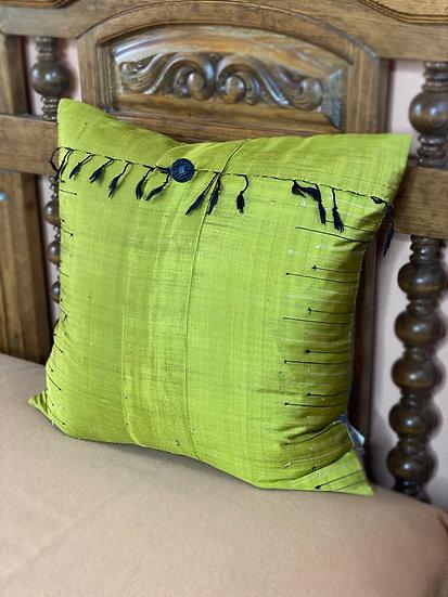 Cambodian silk shawl pillow made by Pandora's
