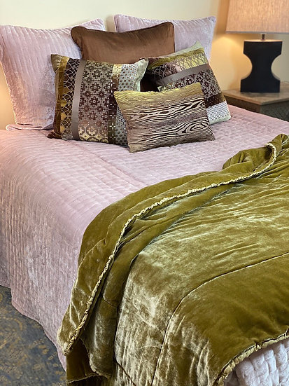 Reversible velvet/silk King quilt from Vietnam