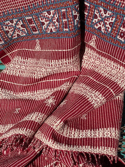 Wool/cotton blend throw made by rural women artisans in India