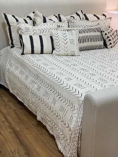 African White Mudcloth King Cotton Bedspread