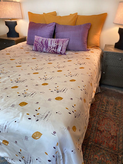"Fine silk Queen coverlet/duvet cover ""Fall"""