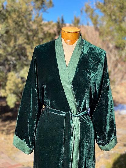 Reversible fine silk velvet green emerald robe from Vietnam