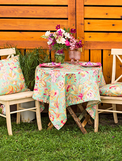 """April Cornell """"Orchid study"""" outdoor tablecloth"""