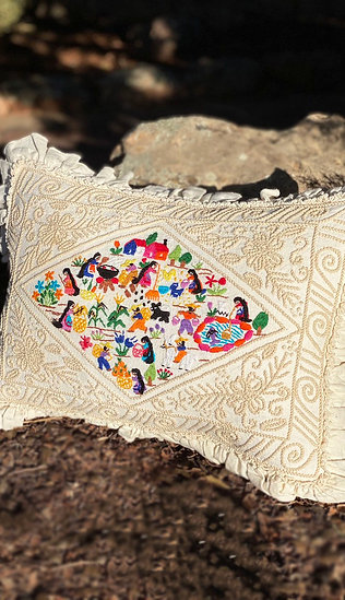 Hand embroidered cotton pillow
