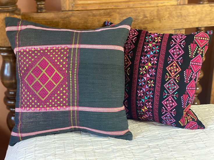 Embroidered pillows from Myanmar and Palestine