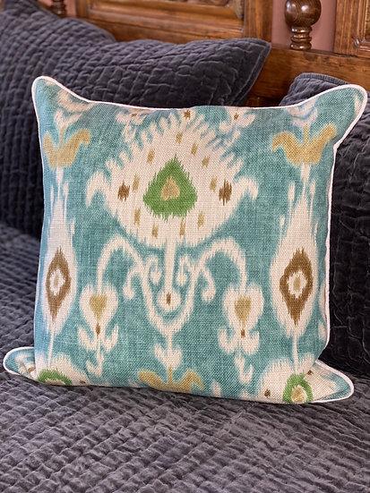 Cotton woven ikat print pillow