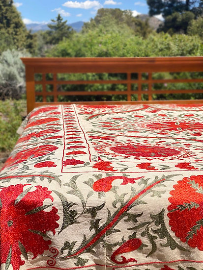 Hand-embroidered Queen Suzani coverlet from Uzbekistan