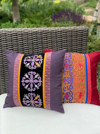 Hand-embroidered pillows from Kyrgistan (Prosperity and Eternity)
