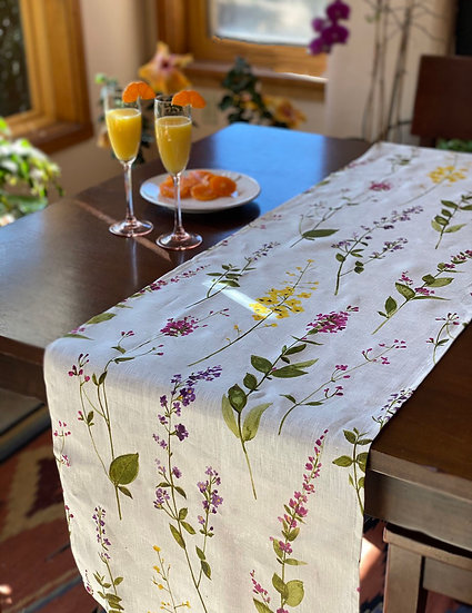 Watercolor floral linen table runner