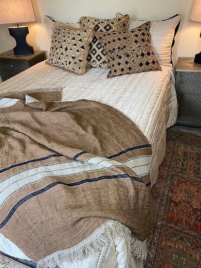 Reversible black/cream silk quilt from Vietnam