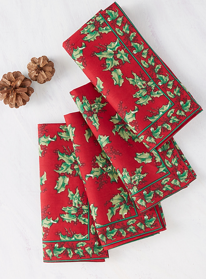 April Cornell Holly napkin set (4)