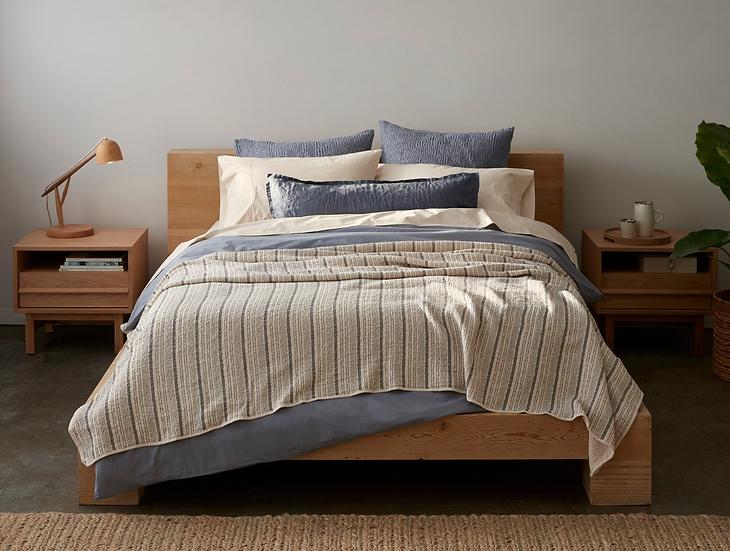 Coyuchi Cascade Shadow Stripe organic cotton blankets/coverlets