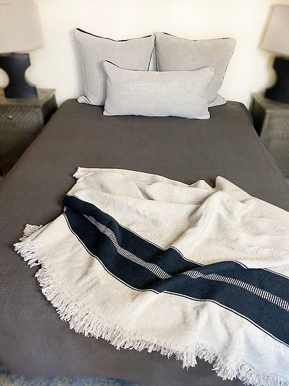 Libeco Napoli Vintage Cafenoir Coverlet/Blanket