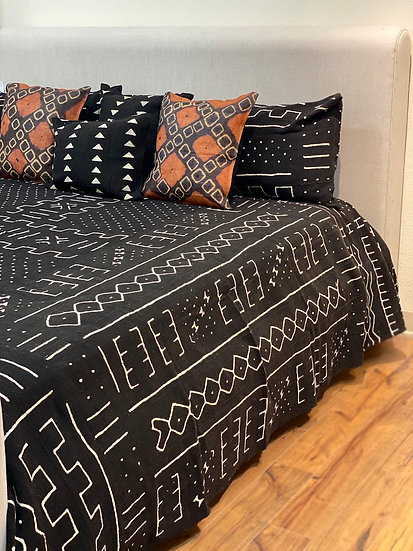 African Mudcloth King Cotton Coverlet