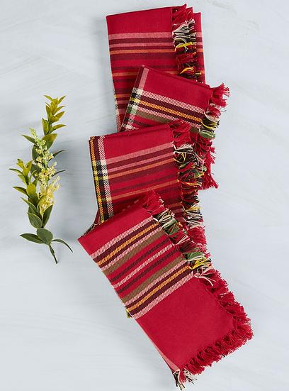 April Cornell cotton tartan plaid napkin set (4)