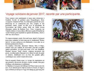 Voyage solidaire de janvier 2017, raconté par une participante