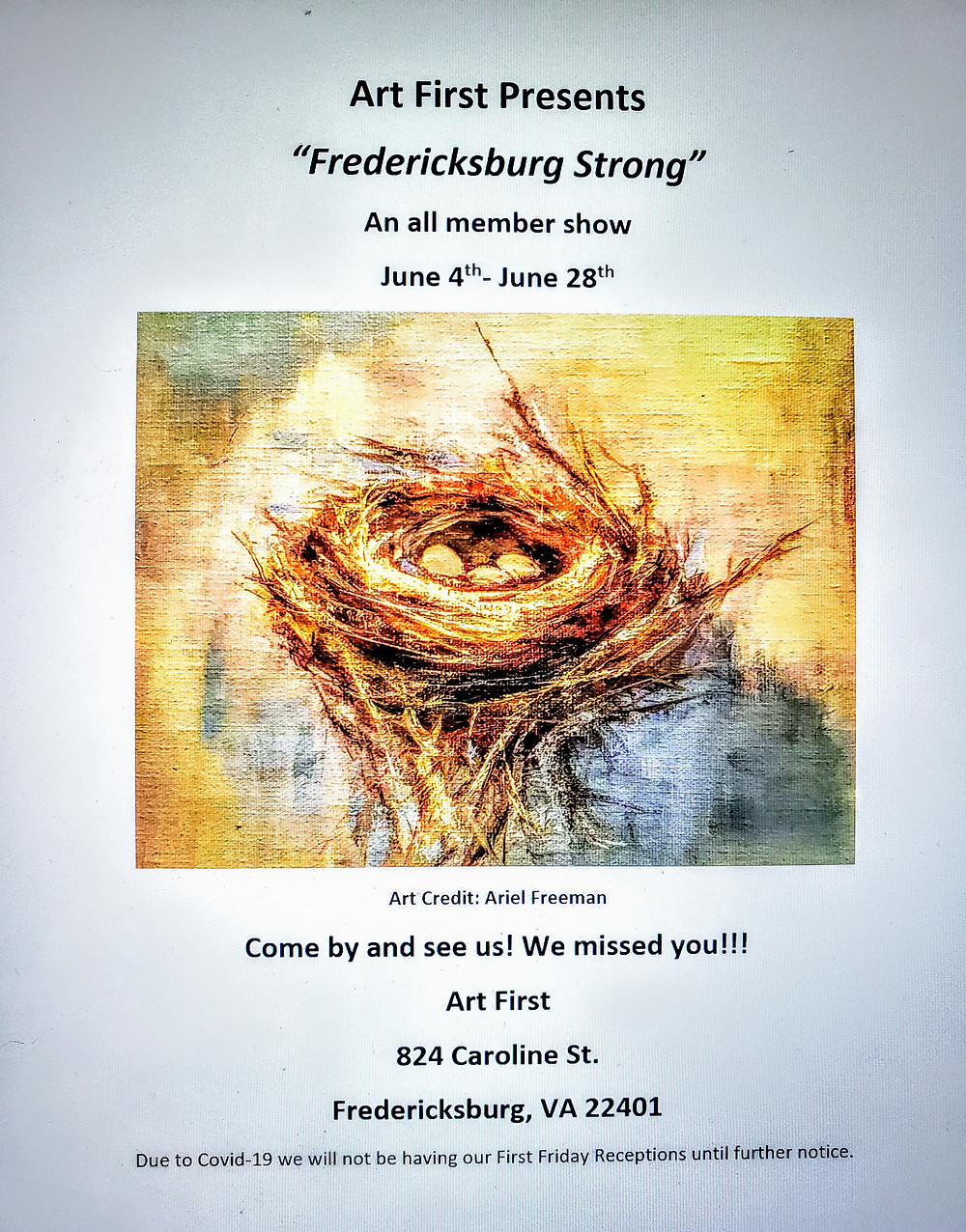 Art First is currently open Thursday-Sunday 11-5