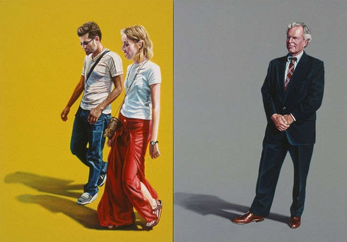 Two panel painting. Man and woman walking in yellow left panel wearing t-shirts; businessman staing in grey right panel wearing a suit.