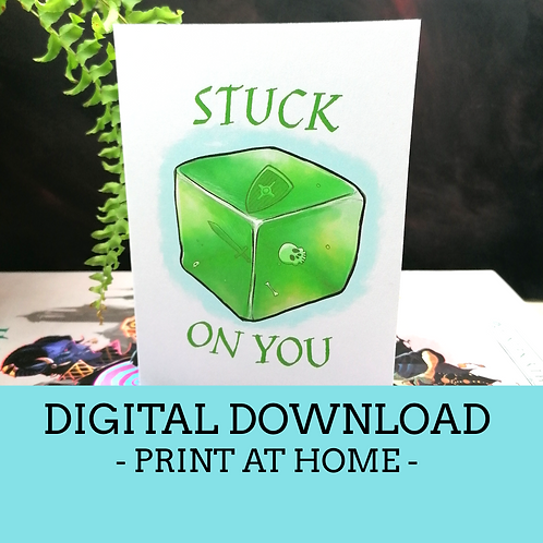 Stuck on You Valentine's Day Card Digital Download