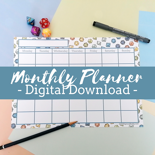 Monthly Planner Printable - DnD dice - Digital Download