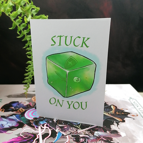Stuck on You Greeting Card - Valentine's Day - Gelatinous Cube