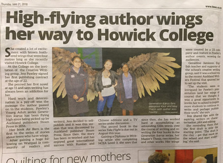 """High-flying author wings her way to Howick College"" - Botany & Ormiston and Howick &a"