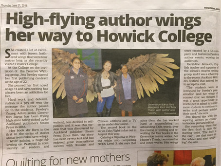 """""""High-flying author wings her way to Howick College"""" - Botany & Ormiston and Howick &a"""