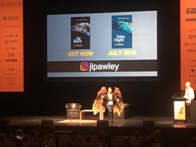J L Pawley onstage at Auckland Writers Festival 2018