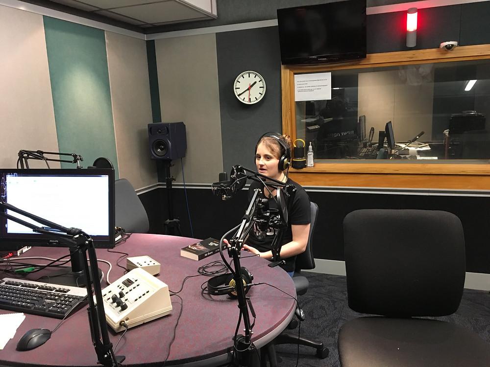 J L Pawley in studio at RNZ