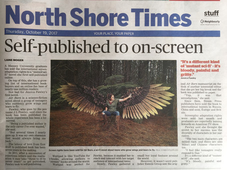 Front page news: J L Pawley on front page of local newspaper North Shore Times