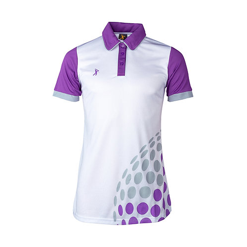 Ladies D.I.M.P. Polo - White/Purple