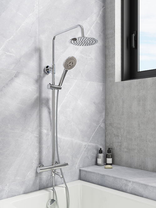Bath Filler Thermostatic Bar Mixer Valve with Riser & Over Head Soaker