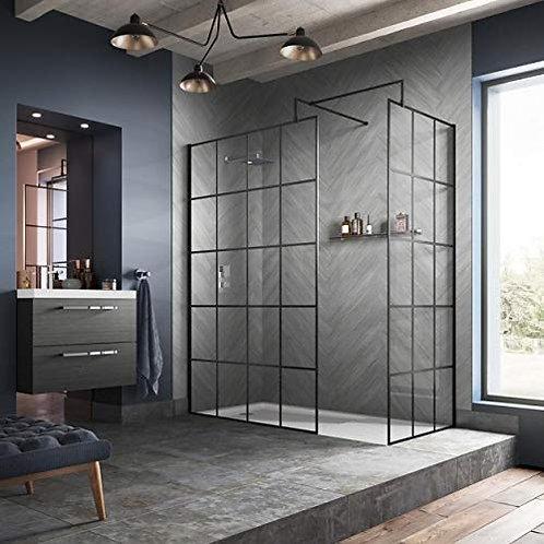 Black Grid Design 8mm Single Wet Glass Panel 2000mm High