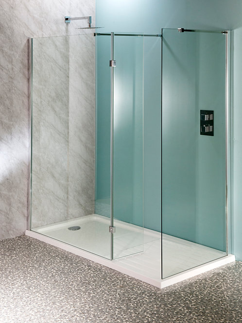 Drying Area Walk - In Shower Enclosure Tray & 1850mm Glass Panels