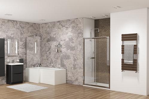 L Shape Shower Bath With Glass Bath Screen & Side Panel