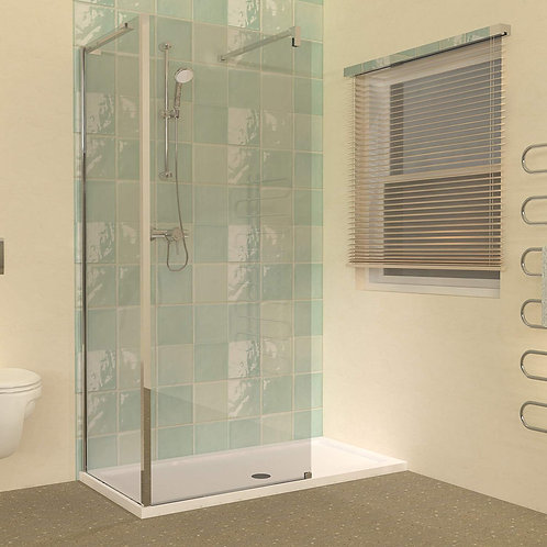 Walk-In L-Shaped Shower 1600 x 800Tray, 10mm Glass & 90º Corner Profile