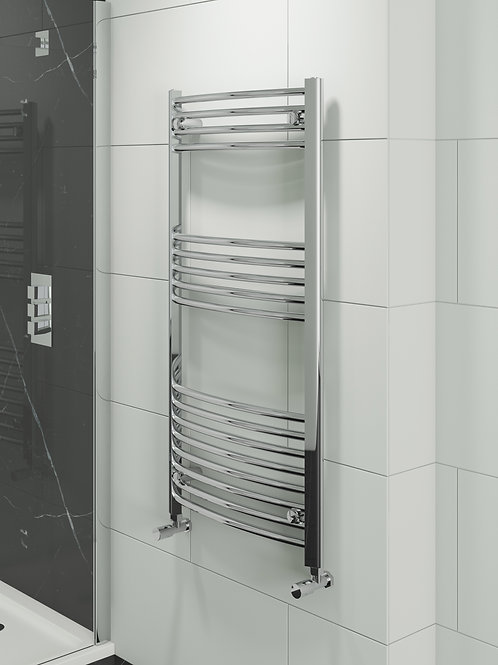 Chrome  Curved Towel Radiator 22mm bars Hayle