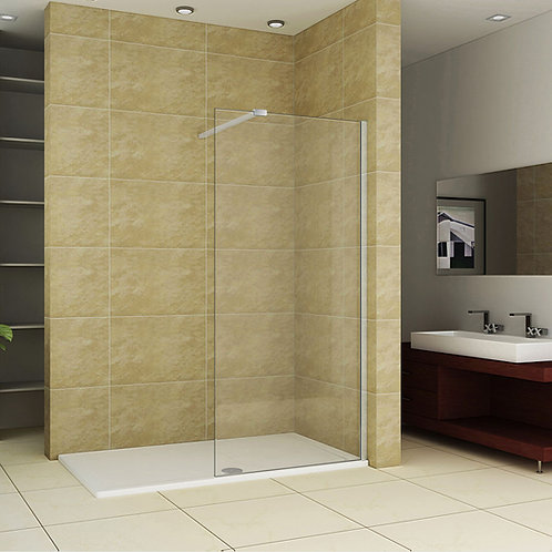 Walk-In Shower Enclosure Stone 1400mm Tray & 8mm Glass Panel