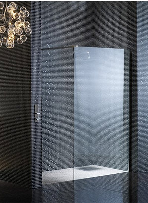 8mm Single Wet Easy Clean Glass Outline Panel 1850mm High