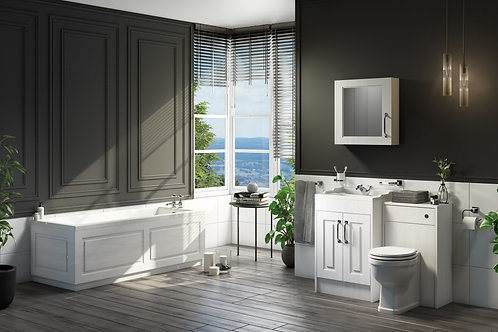 Traditional Country Style Bathroom Furniture - Porcelain White Ash/Stone Grey