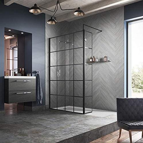 Hudson Reed Black Frame Design 8mm Single Wet Glass Panel 1950mm High