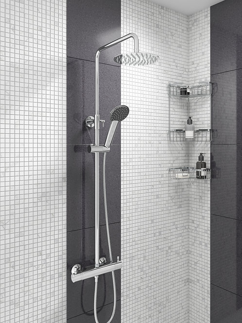 Thermostatic Bar Mixer Valve with Riser & Over Head Soaker