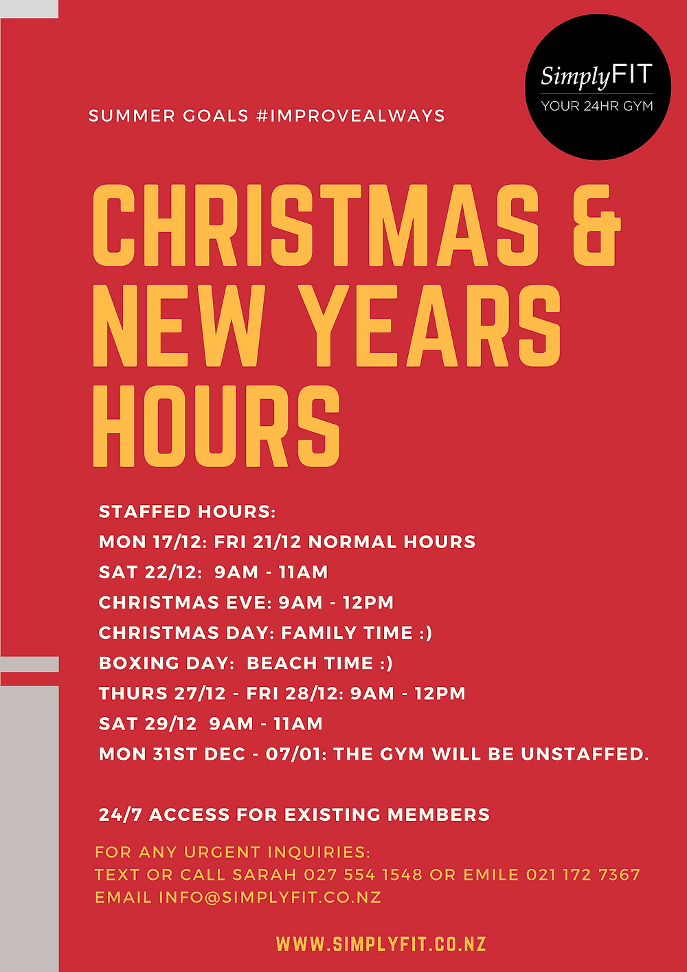 Christmas Hours SimplyFit 2018