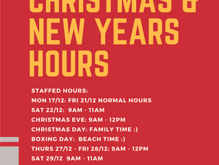 2018 Holiday Staffed Hours