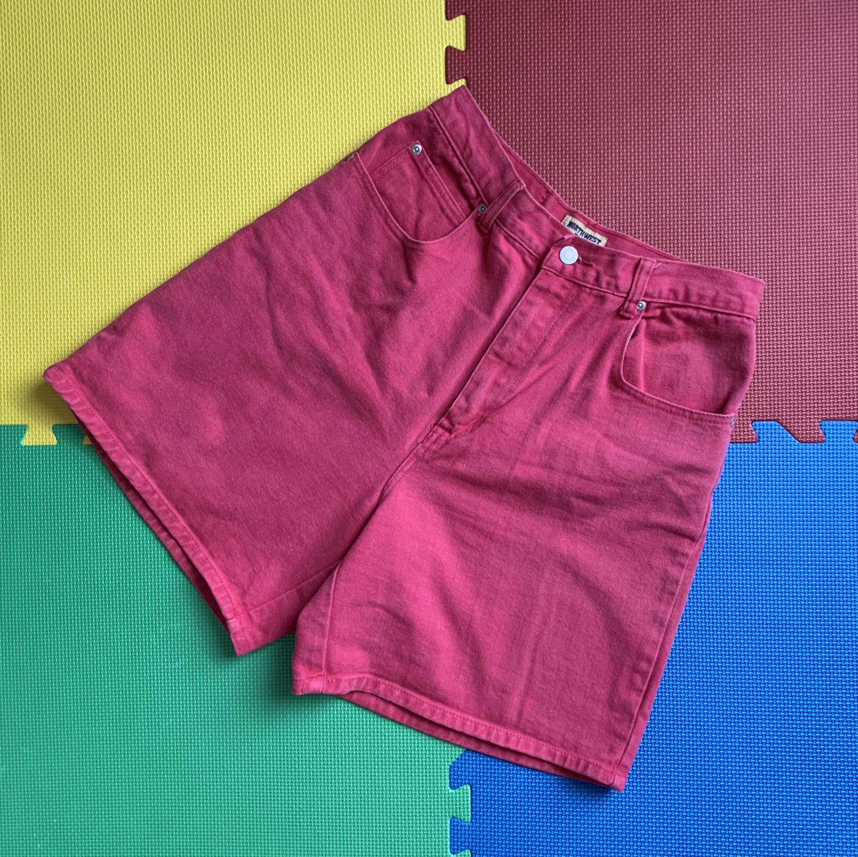 Pink High Waist Jean Shorts
