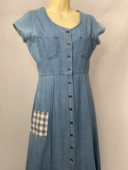 Vintage Denim Dress Picnic Pocket