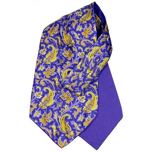 Van Buck Silk Cravat : Purple with orange & yellow paisley design