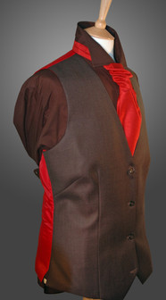 Grey Waistcoat with Red Cravat