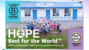 """HOPE recognized as a """"Best For The World™"""" B Corp for performance excellence beyond just profit"""
